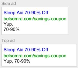 Google search ad comparison side vs top