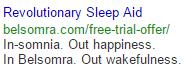 Revolutionary Sleep Aid Google Search Ad