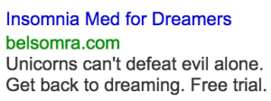 Insomnia Med for Dreamers Google Search Ad