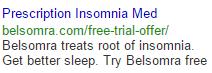 Boring insomnia ad in google search