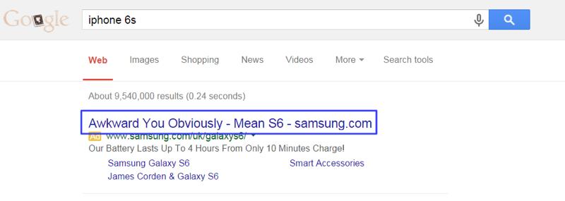 Samsung S6 Google Search Ad