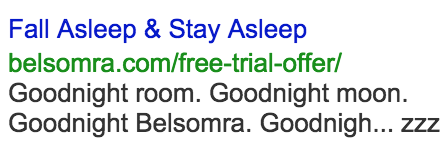 Google Search Ad for Insomnia Medication attempt 4