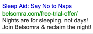 Say No To Naps Google Search Ad